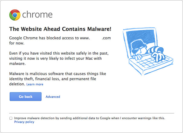 When Google flags a website for containing malware